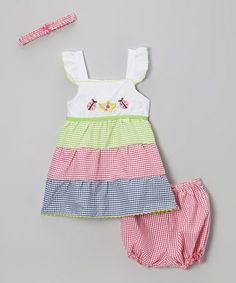 Take a look at this Fuchsia & Green Gingham Sundress & Headband - Infant & Toddler by Coney Island Kids on #zulily today!