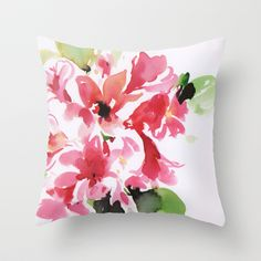 watercolor floral 2 Throw Pillow by Dalbir Design Services - $20.00