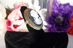 """Cameo Large Ring Set in Goldtone with White Cameo on Black and Adjustable 2"""" tall. See more pictures for this Black and White $7.00 Cameo at www.CCCsVintageJewelry.com. Free Shipping on all orders to the US."""