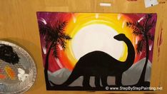 Acrylic Canvas Painting Dinosaur Easy canvas painting for beginners Kids can learn too Learn how to paint a Dinosaur Silhouette with analogous color sky Specifics about Acrylic Paint Colors Brushes and Printable can be found on the tutorial page Simple Canvas Paintings, Small Canvas Art, Easy Canvas Painting, Acrylic Canvas, Colorful Paintings, Diy Painting, Painting & Drawing, Watercolor Paintings, Painting Videos