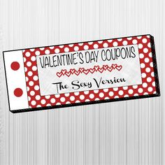 Printable Sexy Valentine's Day Coupon Book by BirdsFlyStudio Naughty Valentines, Mens Valentines Gifts, Valentines Day, Love Coupons, Last Minute Gifts, Printables, Gift Ideas, Sexy, Books