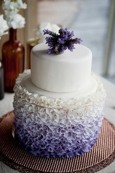 Lavender Cake with a sprig of lavender on top 44 Loveliest #Lavender #Wedding #Ideas