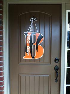 DIY Bengals who dey door hanger.  Nice alternative to wreath during football season.