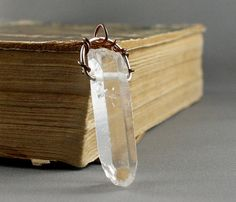 Quartz Crystal Point Necklace. Unpolished by nataliasjewellery, $40.00