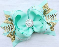 MINT and GOLD BOW Big Girls Bow Over the Top by ModernMeCollection