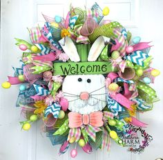 DIY:: She has So Many Tutorials on Easter Bunny Mesh Wreaths in bright colors ! Love This !