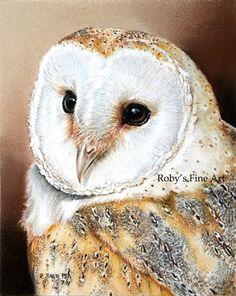 Barn Owl Art Print Wildlife Birds by Roby Baer PSA. $7.50, via Etsy.