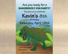 Loving Jurassic World? Dinosaur Birthday Invitation T rex by JennyIllustrations on Etsy