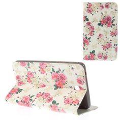 Javu - Samsung Galaxy Tab 4 7.0 - Wallet Cover Hoes Rozen Wit   Shop4Hoesjes.nl