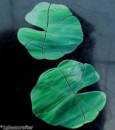 Lily pad stained glass precuts. Set of 2. Great for your mosaic koi pond. Many original designs selling on ebay. Stained Glass Flowers, Stained Glass Art, Stained Glass Patterns, Mosaic Wall, Mosaic Glass, Fused Glass, Mosaic Birdbath, Water Glass, Glass Photo