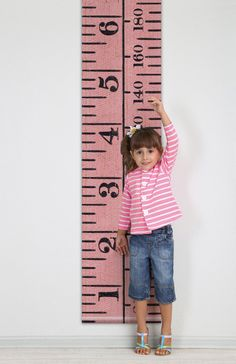 SALE - Vintage inspired height chart in textured antique pink, rollable dual measurement, 7ft / 205cm tall