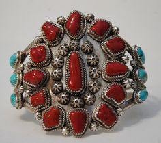 Vintage Navajo sterling silver, coral and turquoise cuff