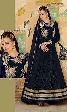 Blue Party wear Anarkali Suit-
