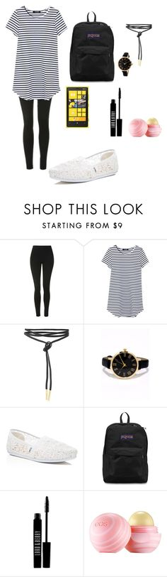 """Untitled #296"" by lexikth ❤ liked on Polyvore featuring Topshop, Nokia, LULUS, TOMS, JanSport, Lord & Berry, Eos, StreetStyle, stripes and makeup"