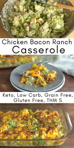 Keto Chicken Bacon Ranch Casserole Quick easy and so comforting This is cheesy bacony and filling It is low carb grain gluten sugarfree a THM S Low Carb Chicken Casserole, Chicken Bacon Ranch Casserole, Low Carb Chicken Recipes, Keto Casserole, Casserole Recipes, Cooking Recipes, Casserole Ideas, Chicken Recipes For Kids, Potato Recipes