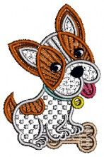Puppy with bone Lace Design free lace custom embroidery designs machine