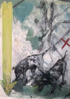 """""""perros"""" Técnica mixta sobre papel. 45x32 cm.2012"""