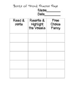 sight word or spelling word center idea