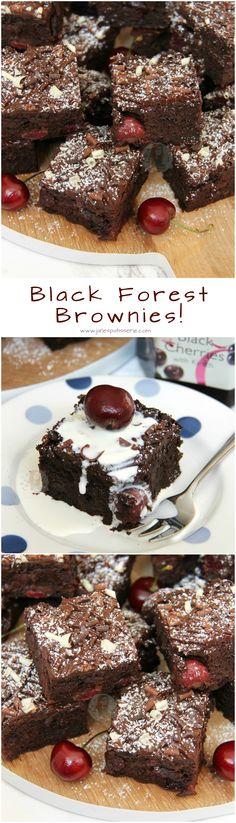 Black Forest Brownies! ❤️ Dark Chocolate Chip Brownies, Cherries in Kirsch, Fresh Cherries, and even more Chocolate on top.