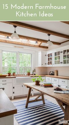 Charming farmhouse kitchens are trending all over Pinterest. Here are some simple ideas that you can do yourself and accomplish this look in your kitchen!