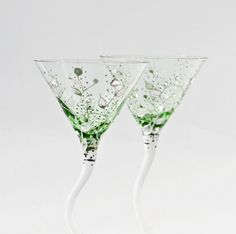 Green Martini Glasses Silver leafs Clear  and by NevenaArtGlass, $48.90