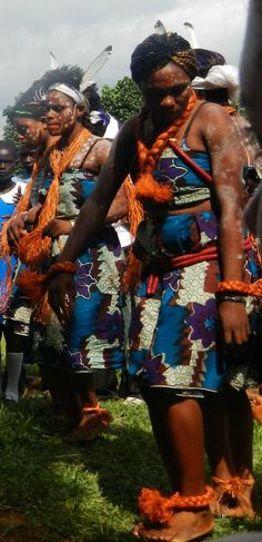 Villagers performing a traditional dance in Cameroon, Africa