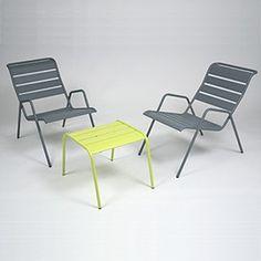 Salon bas Monceau - table verveine + 2 fauteuils gris orage