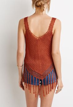 Fringed Open-Knit Top   Forever 21 - 2000131254