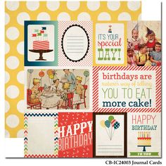 Carta Bella Paper - Its a Celebration Collection - 12 x 12 Double Sided Paper - Journaling Cards at Scrapbook.com