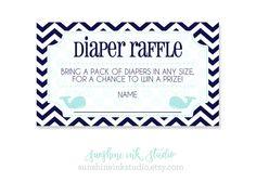 Diaper Raffle Tickets Nautical Whale Baby by SunshineInkStudio