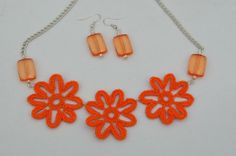 Crochet necklace with earrings Crochet jewelry by lindapaula