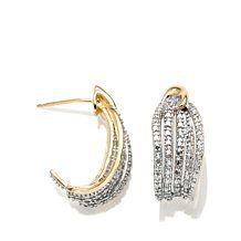 Two-Tone Diamond-Accented Hugger Back Earrings