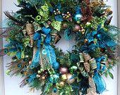 Huge wreath, XXXL Christmas wreath,  holiday wreath,  Door wreath, Peacock,  Handmade wreath by Kimberly