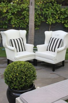 Hmmm, have you ever thought about such traditional chairs for outdoors?  I wonder if I could replace the insides and then recover in sunbrella outdoor fabric ,I will ponder these thoughts
