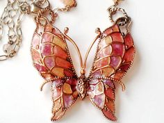 Plique A Jour Butterfly Necklace Copper Stain Glass Vintage Collectable Jewelry Pink Lavender Orange Brown Unsigned Beauty Spring Summer via Etsy