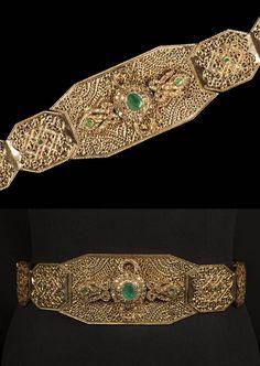 Morocco - Fez   Wedding belt; gold and emeralds.   c. mid 20th century   Est. 2'000 - 3'000€ ~ (Oct '15)