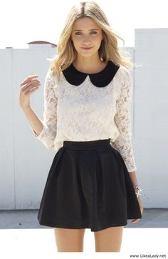 Lace top with peter pan collar. Longer black circle skirt