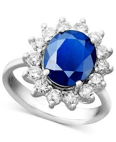 Royalty Inspired by EFFY Sapphire (4-1/3 ct. t.w.) and Diamond (1 ct. t.w.) Oval Ring in 14k White Gold