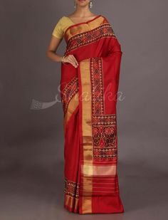 Pratibha Plain With Ornate Border Ravishing Ikat #PatolaSilkSaree
