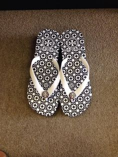 Navy and White Tory Burch flip flop sandals.  Love.  Super comfy and great for summer!