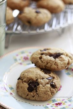 chocolate chip cookies made with almond flour. No refined sugar or flour, but these are even yummier than the naughty version!