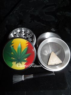 Rasta Cannabis Weed Leaf 4 Piece Herb Grinder Pollen Screen and Catcher Punk, Emo, Rock, Rockabilly, Horror, Wicca and much more can be found in my lil' creations! Art For Life accessories are created with lots of love and inspiration! I strive to provide the highest quality products! Our imag...
