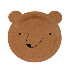 Small Bear Paper Plates Meri Meri Woodland by CrankyCakesShop