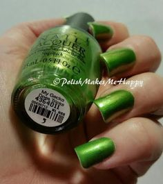 Hawaii Collection by OPI (2015). OoooLaLa!  They are gorgeous, all of them!!!! GREAT polishes. All with a GREAT formula.  Easy application.  I loved wearing each of them!!  This is My Gecko Does Tricks.   #OPI #notd #prettynails #hawaii2015