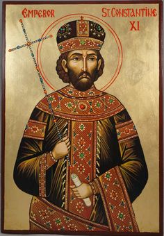 High quality hand-painted Orthodox icon of Emperor St Constantine XI. BlessedMart offers Religious icons in old Byzantine, Greek, Russian and Catholic style. Byzantine Art, Byzantine Icons, Catholic Art, Catholic Traditions, Roman Catholic, Religious Icons, Religious Art, St Constantine, Fall Of Constantinople