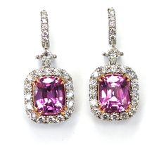carats of pink sapphires with 1 carat of accent diamonds made in rose gold and platinum- Images Jewelers Custom Earrings, Pink Jewelry, Custom Jewelry Design, 1 Carat, 18k Rose Gold, Pink Sapphire, Pretty In Pink, Diamonds, Jewelry Making