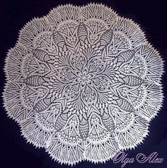 Lace Tablecloth by Olga Gulidova. No crochet hook size is listed - tablecloth was crocheted using a pick up tool for knitting machines from sewing thread held triple. Crochet Circles, Crochet Round, Crochet Home, Irish Crochet, Free Crochet, Crochet Hook Sizes, Thread Crochet, Lace Knitting, Crochet Tablecloth