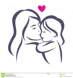Mother And Baby Stylized Vector Silhouette Stock Vector - Image ...