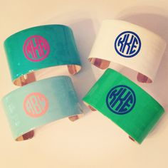 LOVE our new monogram cuffs!! So many colors to choose from, here are just a few!