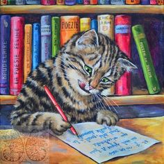 Martine Coppens – present, Belgian) at The Great Cat I Love Cats, Cute Cats, Funny Cats, Cat Drawing, Funny Animal Pictures, Beautiful Cats, Animal Drawings, Cat Art, Cats And Kittens